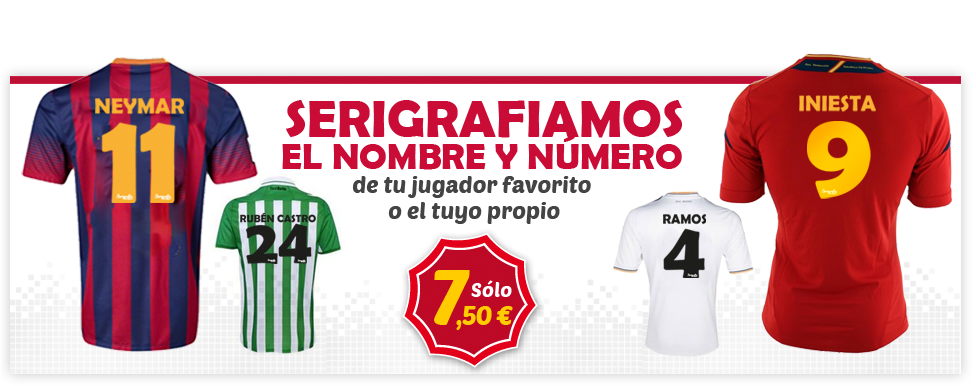 Serigrafia camisetas de futbol 7 Euros